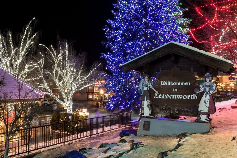莱温芙丝镇,华盛顿,圣诞灯的 库存照片