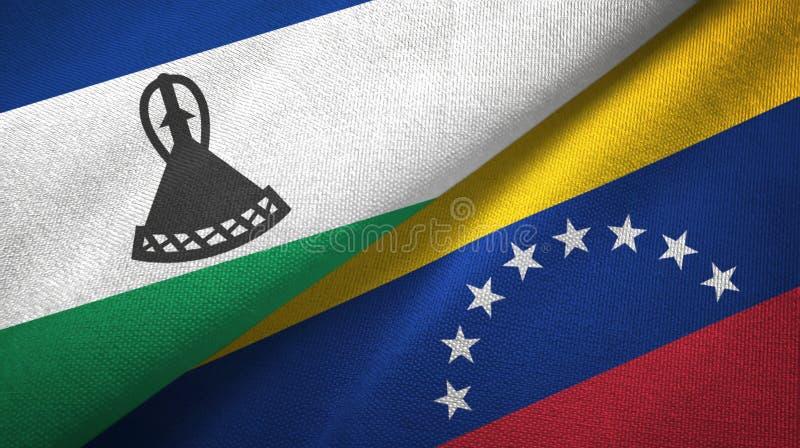 莱索托和委内瑞拉两旗子纺织品布料,织品纹理 向量例证