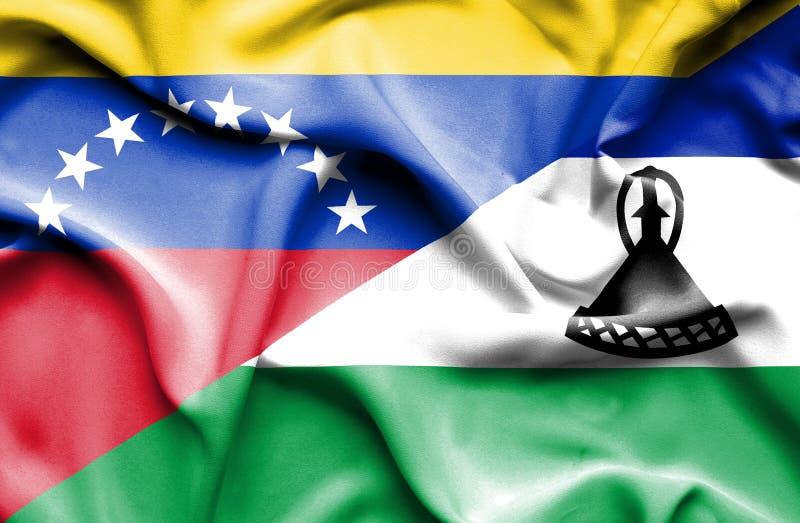 莱索托和委内瑞拉的挥动的旗子 库存例证