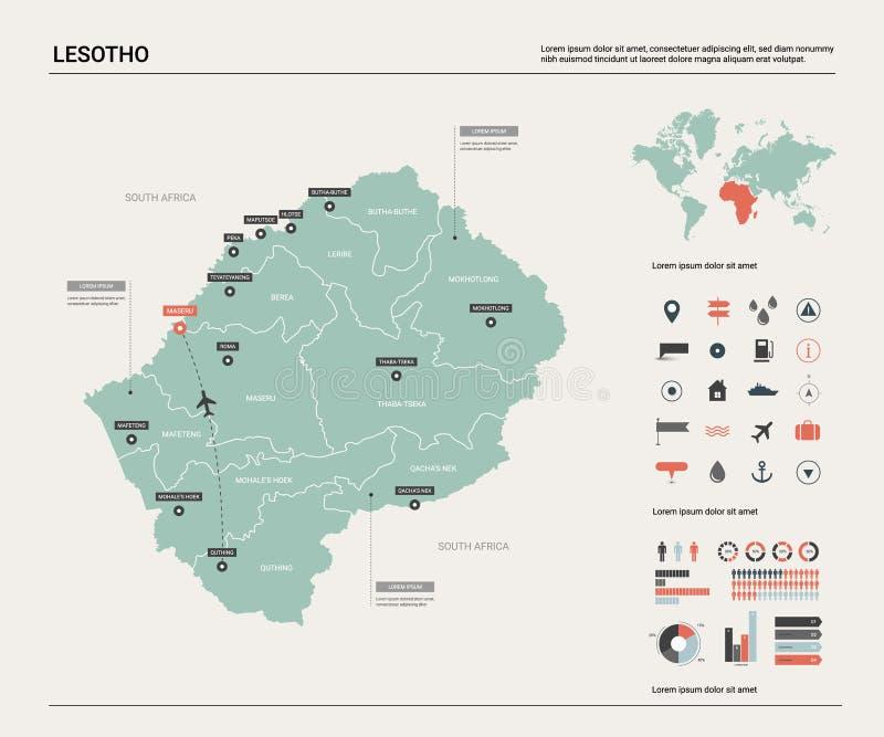 莱索托的传染媒介地图 与分裂、城市和首都马塞卢的高详细的国家地图 r 皇族释放例证
