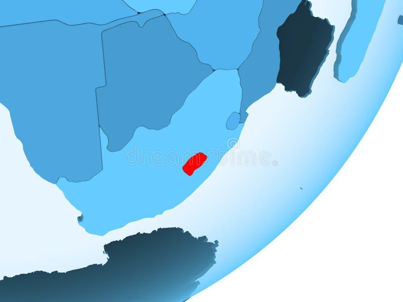 莱索托的地图蓝色政治地球的 库存例证