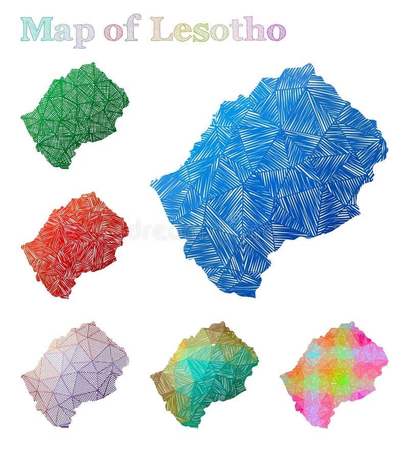 莱索托的手拉的地图 库存例证
