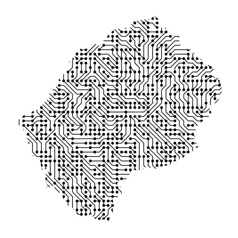 莱索托的抽象概要地图从黑色的打印了委员会, 向量例证