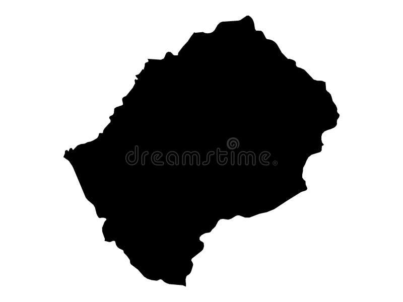 莱索托的黑地图 库存例证