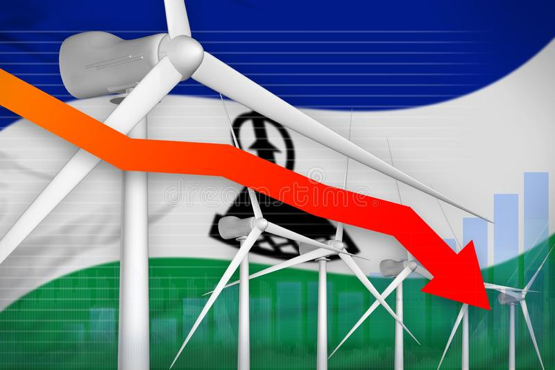 莱索托降低图,在-环境自然能工业例证下的箭头的风能力量 3d?? 皇族释放例证