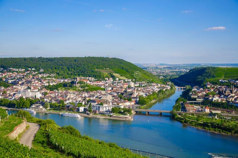 莱茵河畔宾根和莱茵河在莱茵兰-普法尔茨州,德国 免版税库存图片