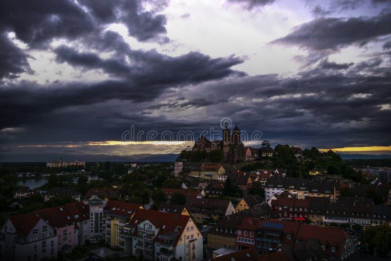 莱茵河畔布赖萨上午莱茵傍晚 库存图片