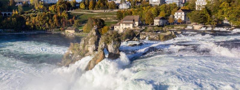 莱茵河秋天全景 瑞士 库存图片