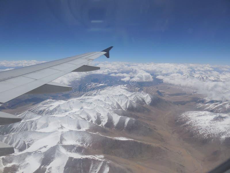 莱赫山J&K,从飞机的印度视图 库存照片