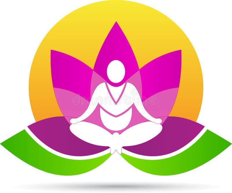 莲花凝思瑜伽 向量例证