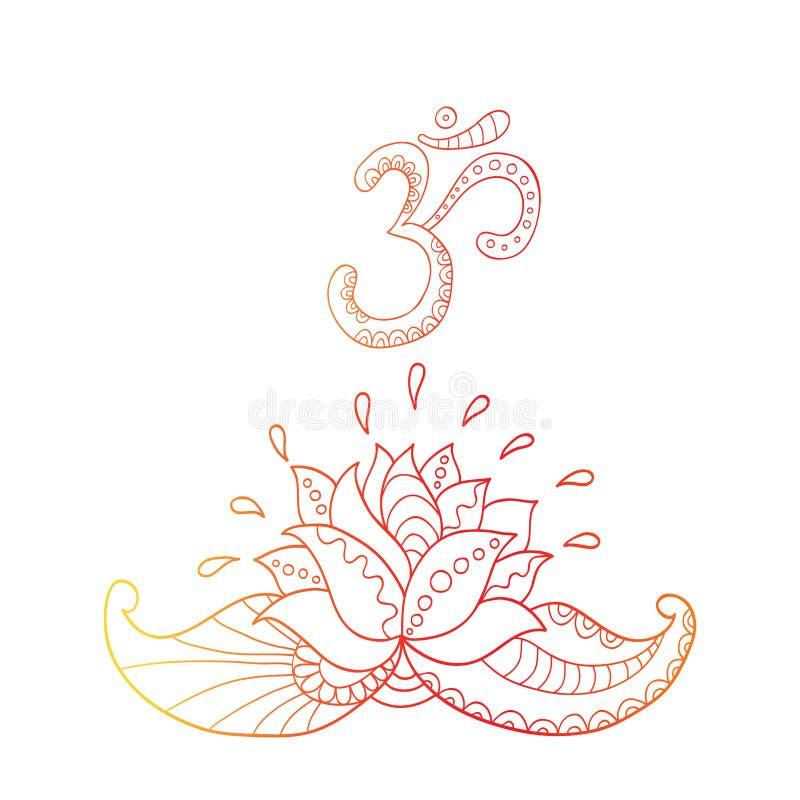 莲花剪影和标志om lilly水 库存例证