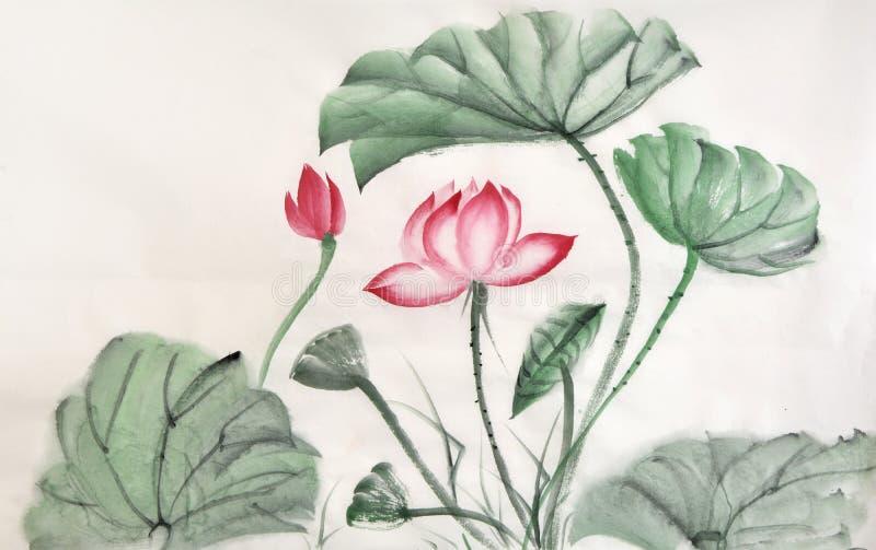 莲花叶子和花水彩绘画  库存例证