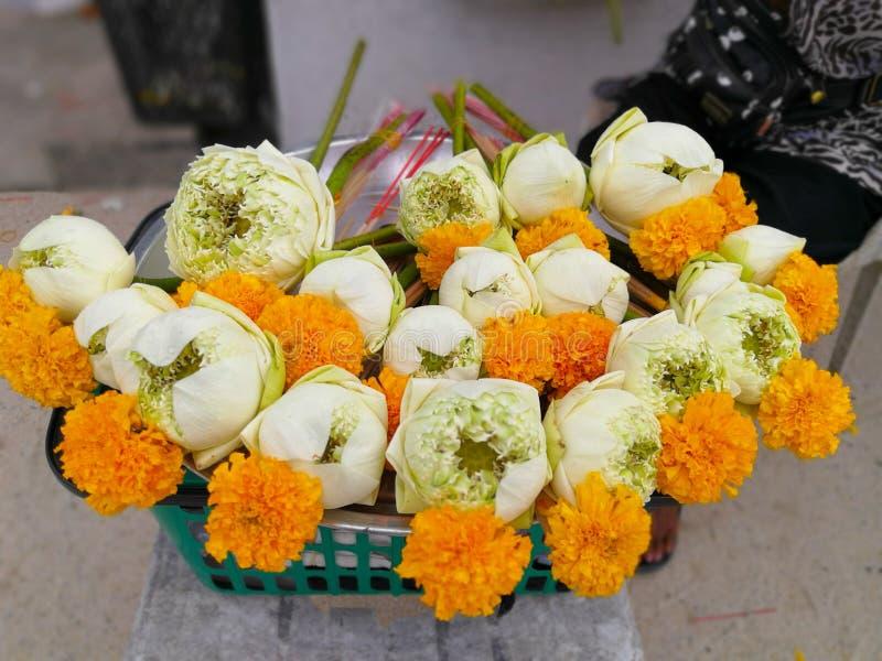 莲花和香火蜡烛崇拜的菩萨 图库摄影