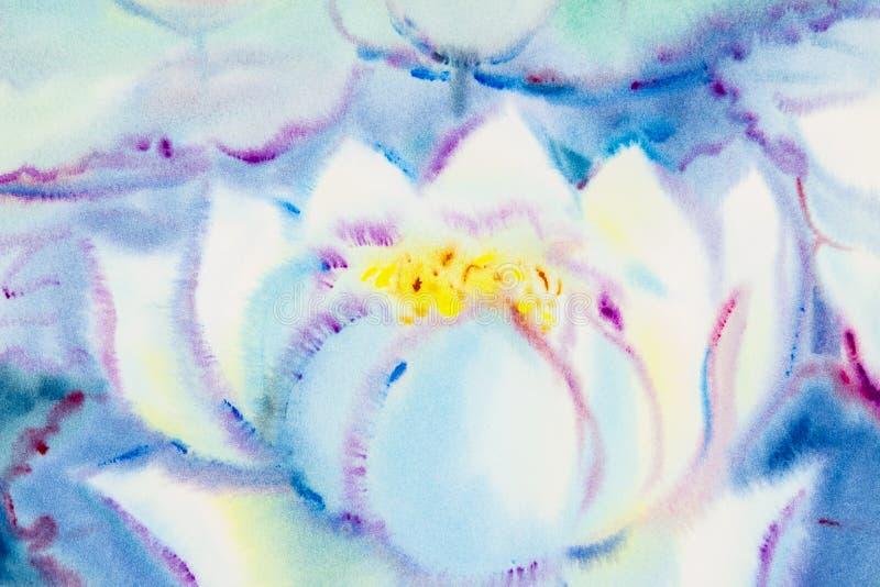 莲花和绿色叶子的绘的白色颜色 皇族释放例证