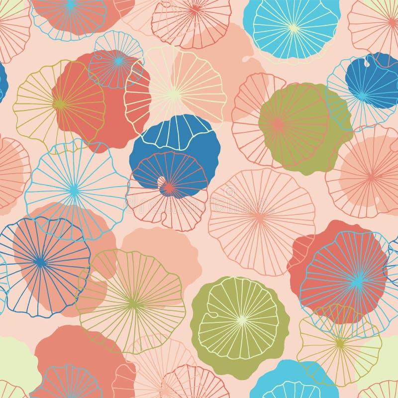 莲花在一个现代五颜六色的样式的池塘无缝的样式背景纹理离开 向量 库存例证