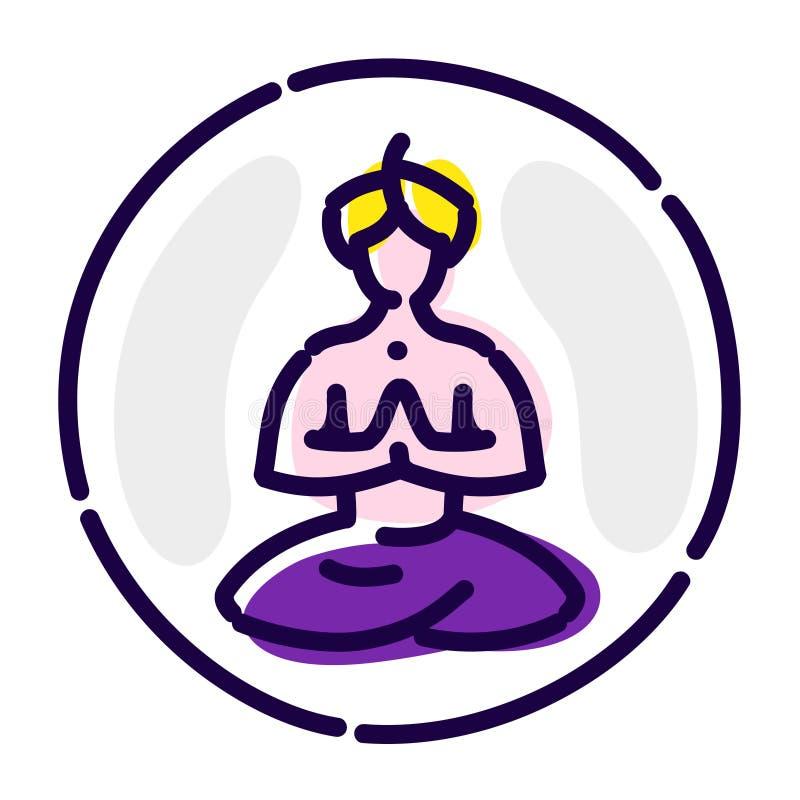 莲花坐的信奉瑜伽者 传染媒介平的象 头巾的思考的信奉瑜伽者 图象在白色背景被隔绝 瑜伽象征  向量例证
