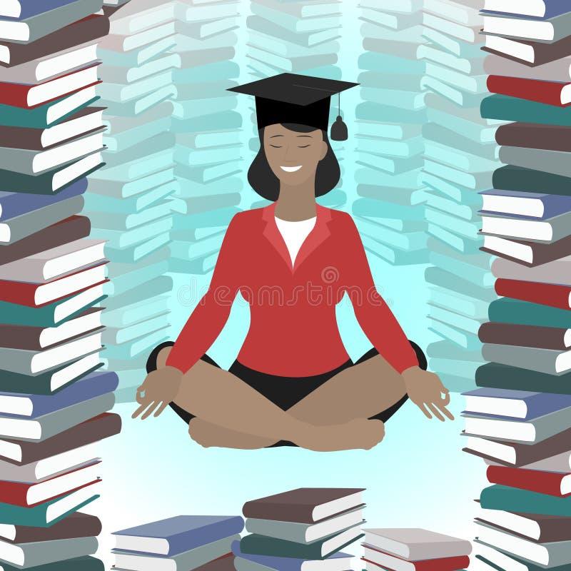 莲花坐的,训练,高等教育,事务一个女孩 库存例证