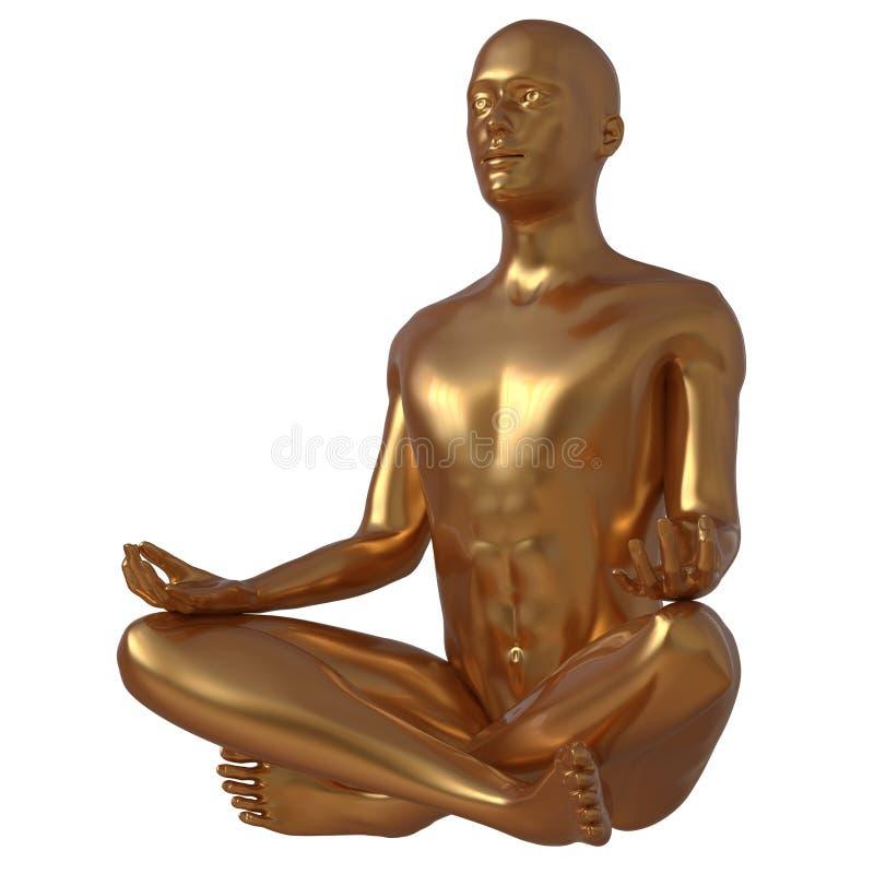 莲花姿势瑜伽人风格化形象豪华金黄 皇族释放例证