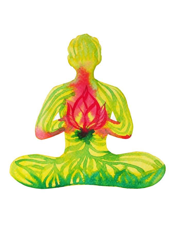 莲花姿势瑜伽,水彩绘画,抽象气氛力量, natur 皇族释放例证