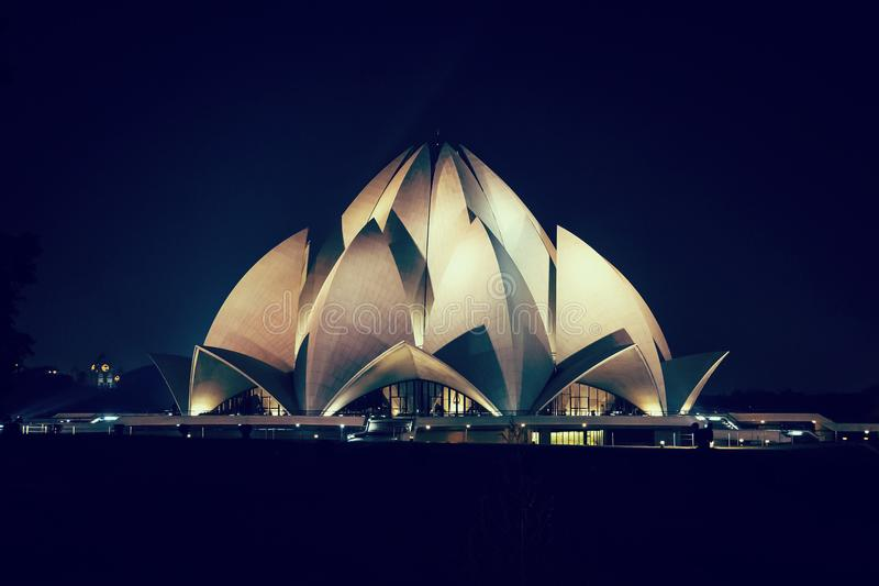 莲花寺庙新德里,印度 免版税库存图片