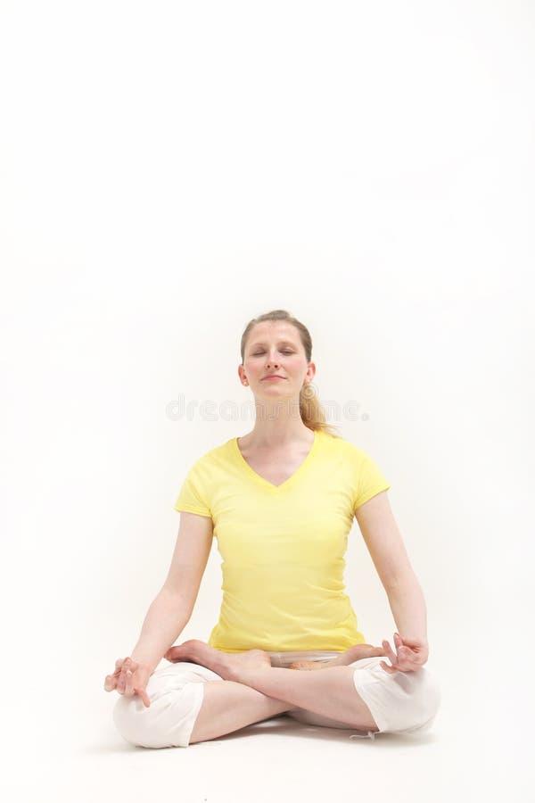 莲花思考的位置平静的妇女 图库摄影
