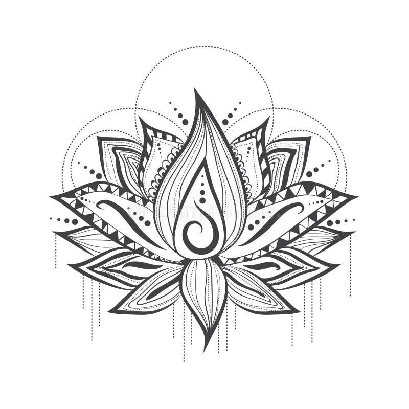 download 莲花抽象纹身花刺商标设计 向量例证.