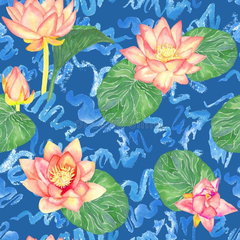 莲花桃红色花和叶子和卷曲水波,无缝的样式设计,在蓝色的手画水彩 向量例证