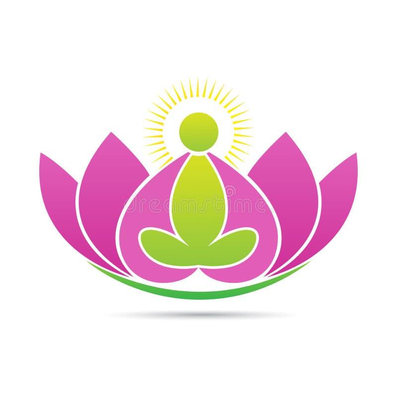莲花禅宗瑜伽健康和平商标 向量例证