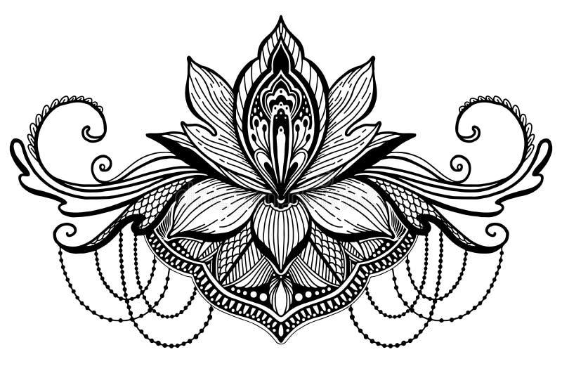 莲花种族标志 黑颜色在白色背景中 纹身花刺设计主题,装饰元素 标志亚洲灵性, 向量例证