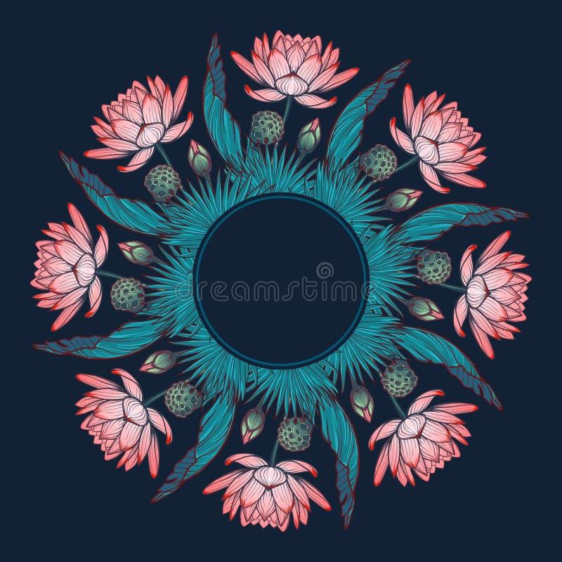 莲花背景 是都蝴蝶能组合包含装饰花卉花水平的取向形状使用垂直被传统化的装饰品 荷花棕榈树和香蕉叶子在圆花圈arrenged 库存例证
