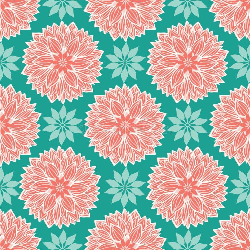 莲花花卉坛场在现代五颜六色的典雅式样设计 无缝的传染媒介重复样式 皇族释放例证