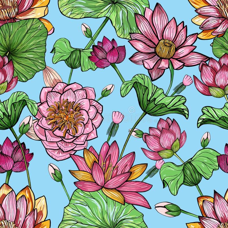 莲花花卉无缝的样式 手拉的五颜六色的背景 库存例证