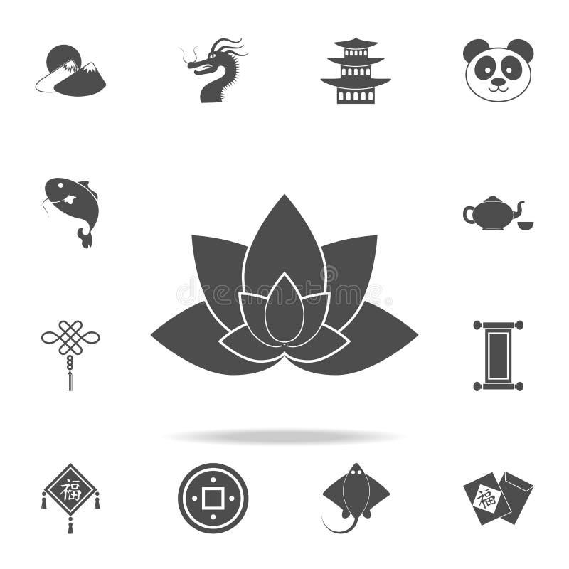 莲花象 套中国文化象 网象优质质量图形设计 标志和标志汇集,简单的象为 向量例证