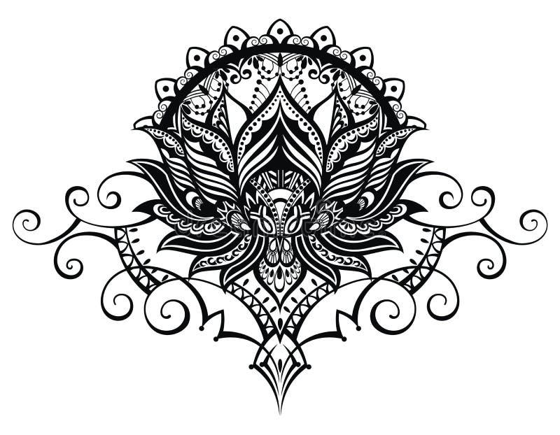 莲花,纹身花刺样式 皇族释放例证
