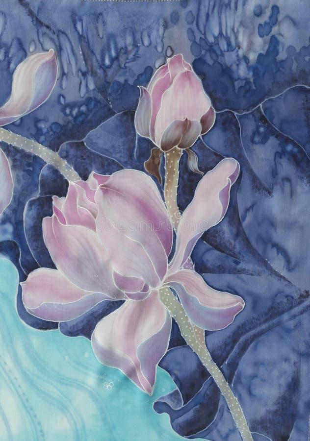 莲花 细麻花布 花,叶子,芽的装饰构成 使用铅印材料,标志,项目,网站,地图,海报, 库存例证
