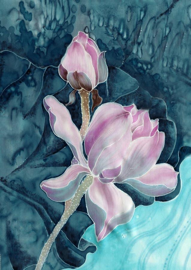 莲花 细麻花布 花,叶子,芽的装饰构成 皇族释放例证