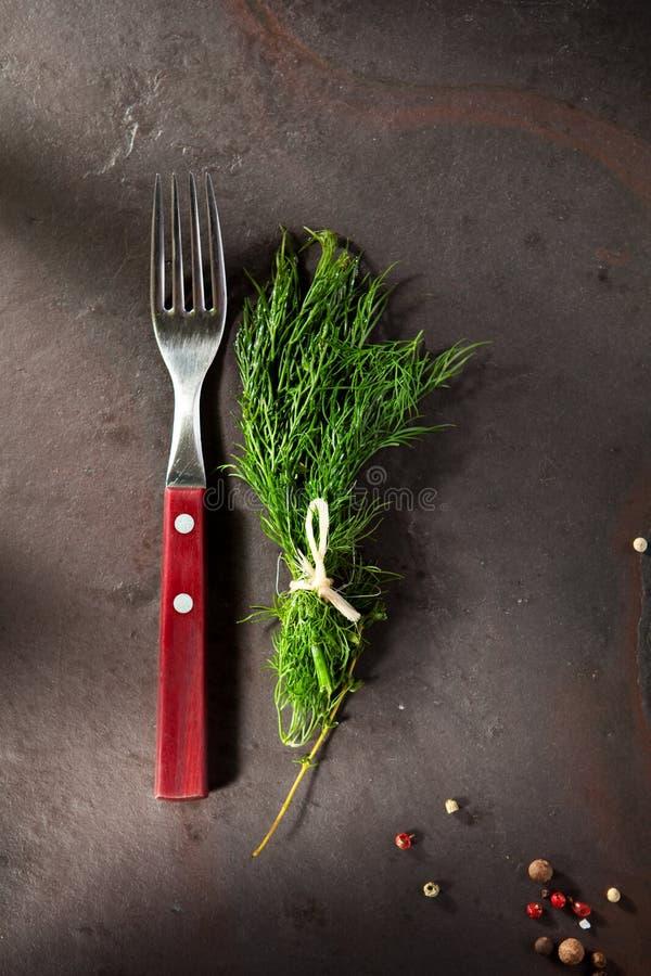 莳萝和叉子 免版税图库摄影