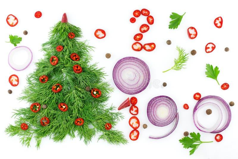 莳萝圣诞树,装饰用辣椒,与菜的特写镜头在白色背景 健康食物和营养 免版税库存照片
