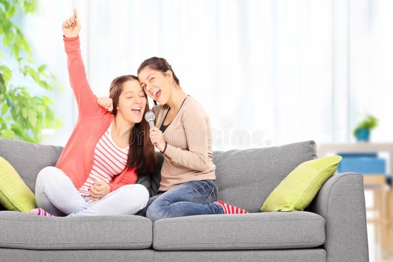 获得两个的姐妹唱歌在话筒的乐趣 库存照片