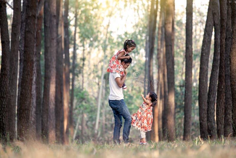 获得乐趣和使用在公园的父亲和女儿 图库摄影