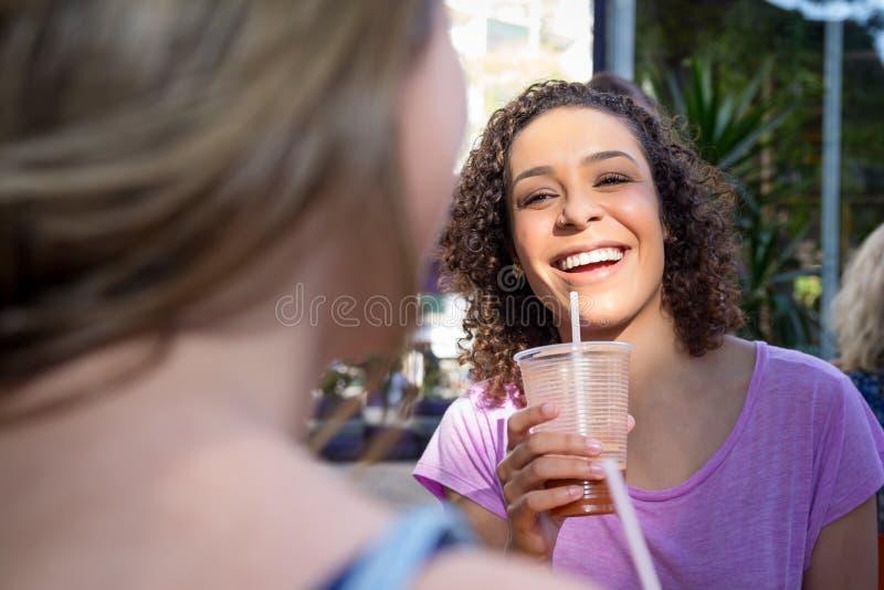 获得乐趣和喝汁液的两名俏丽的妇女户外在c 库存图片