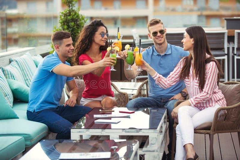 获得乐趣和喝鸡尾酒的朋友室外在屋顶 库存图片