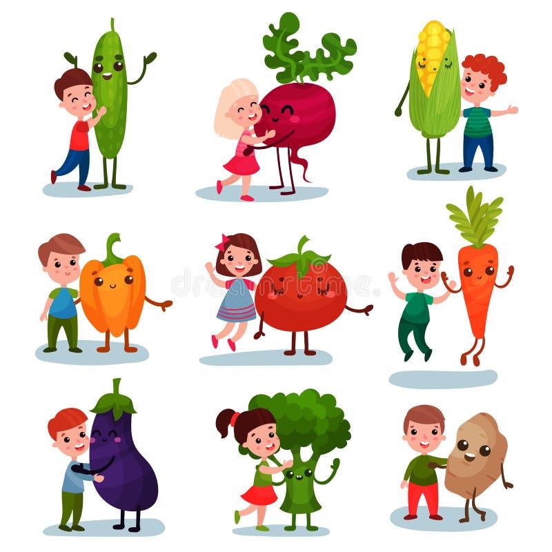 获得乐趣和拥抱巨型菜,最好的朋友,儿童动画片传染媒介的健康食物的逗人喜爱的小孩 向量例证