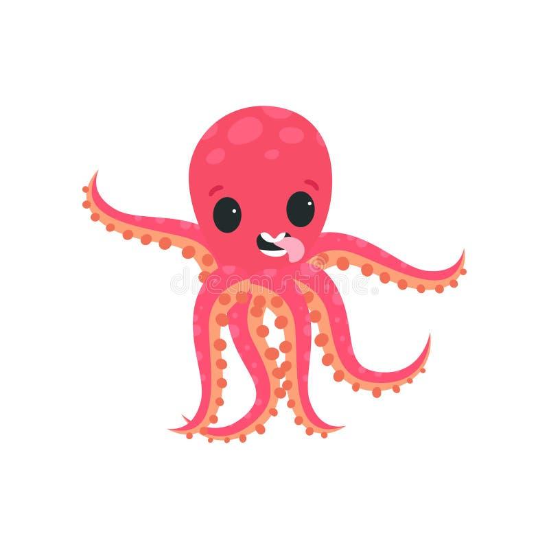 获得乐趣和显示他的舌头的快乐的小的章鱼 海洋生物漫画人物  平的传染媒介设计为 皇族释放例证