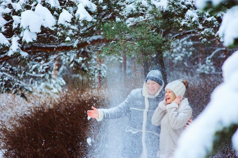 获得全部乐趣和投掷雪的愉快的夫妇冬天画象室外在森林 免版税库存图片