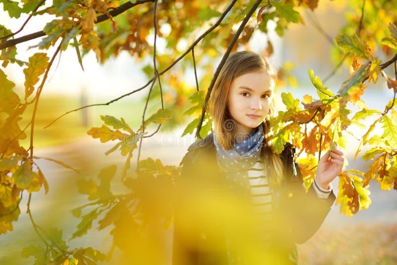 获得可爱的少女乐趣在美好的秋天天 使用在秋天公园的愉快的孩子 孩子汇聚黄色秋叶 库存图片