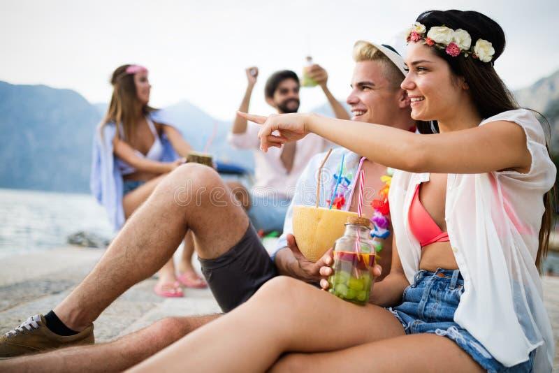 获得小组愉快的朋友集会和乐趣在度假暑假 免版税库存照片