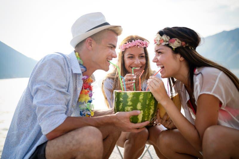 获得小组海滩的朋友喝和乐趣 r 免版税库存图片