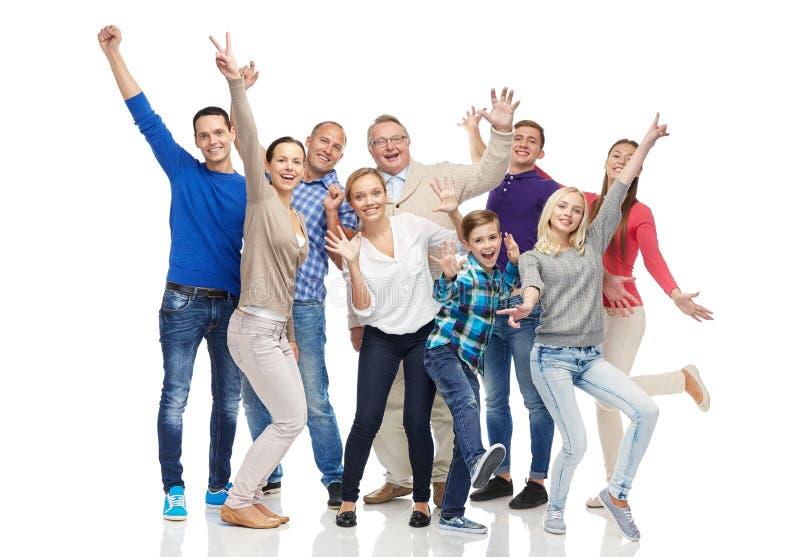 获得小组微笑的人民乐趣 免版税库存照片