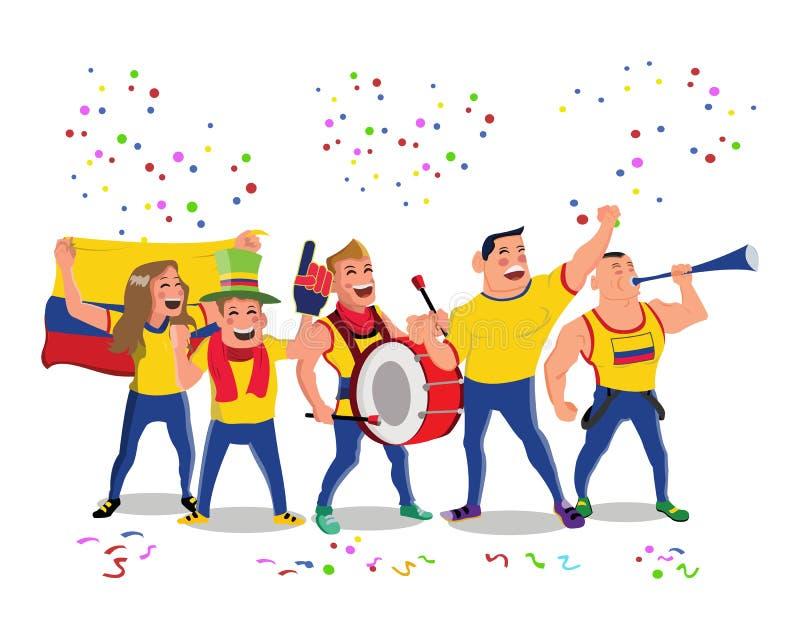 获得快乐的哥伦比亚全国橄榄球队支持者的人群乐趣 库存例证